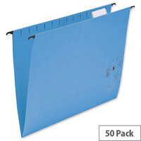 Foolscap Suspension Files Blue with Wrapover Bar Tabs and Inserts 5 Star Pack 50