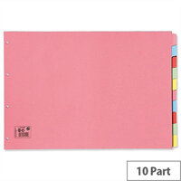 10 Part Oblong A3 Subject Dividers Assorted 5 Star
