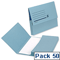 Document Wallet A4 Blue Half Flap 285gsm Pack 50 5 Star