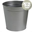 5 Star Office Waste Desk Bin Round Steel Scratch Resistant D300xH280mm 15 Litres Grey