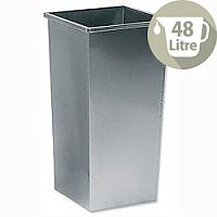 5 Star Office Waste Bin Square Steel Scratch-resistant W325xD325xH630mm 48 Litres Silver Metallic