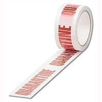 Printed Tape Quarantine 50mm x 66m Red on White Pack 6
