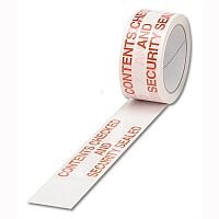 Printed Tape Contents Checked 50mm x 66m Red on White Pack 6