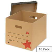 Lever Arch Files Archive Storage Box A4 Brown 10 Pack 5 Star