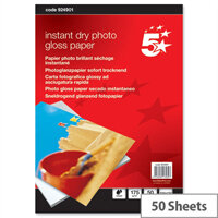 "5 Star 6x4"" Glossy Inkjet Photo Paper 175gsm (Pack of 50)"