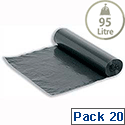 5 Star Bin Liners 80 Gauge On The Roll 95L Black (Pack 20)