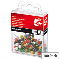 Map Pins 5mm Head Assorted Pack 100 5 Star