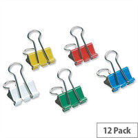 Assorted Foldback Clips 19mm Pack 12 5 Star