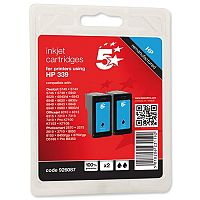 HP 339 Compatible Black Ink Cartridge Pack 2 C9504EE 5 Star