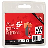 Canon PGI-520 BK ( 2932B001 Equivalent ) Black Ink Cartridge Compatible/Remanufactured by 5 Star