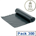 On-The-Roll Bin Bags 95 Litre Capacity Black Box 300