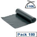 Wheelie Bin Liners 110 Litre Capacity W1150xH1420mm Black 929773 Box 180