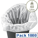 Swing Bin Liners 40 Litre Capacity White 929836 Box 1000