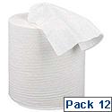 5 Star Centrefeed Paper Tissue Refill for Dispenser White One-ply 120m [Pack 12]