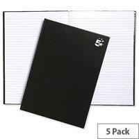 5 Star A4 Hard Cover Notebook Casebound Black Pack 5