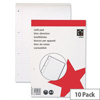 A4 Refill Pad With Margin Headbound 4 Hole Punched 80 Sheets Pack 10 5 Star