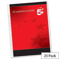 A3 Plastic Punched Pockets Portrait 120 Micron Pack 25 5 Star