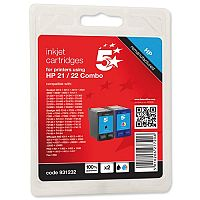 HP 21 and 22 Compatible Black and Colour Ink Cartridge SD367AE 5 Star