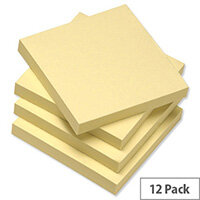 5 Star Re-Move Recycled Notes Repositionable Pad of 100 Sheets 76x76mm Yellow [Pack 12]
