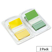 5 Star Index Flags 50 per Pack 25mm Yellow and Green [Pack 2]