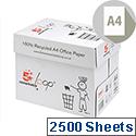 A4 80gsm White 100% Recycled Copier Paper Box of 2500 Sheets 5 Star