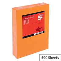 Deep Orange A4 Coloured Printer Paper Multifunctional Ream-Wrapped 80gsm 500 Sheets 5 Star