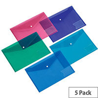 5 Star Office  A4  Envelope Stud Wallet with Card Holder Polypropylene Assorted  Pack 5
