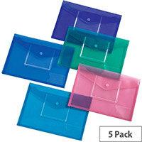 5 Star Office A4 Envelope Stud Wallet CD Filing Pocket Polypropylene Assorted Pack 5