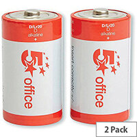 5 Star Office Batteries D / LR20  Pack 2
