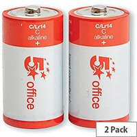 5 Star Office Batteries C /LR14  Pack 2