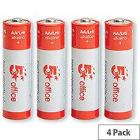 5 Star Office  AA  LR6 Alkaline Batteries  Pack of 4