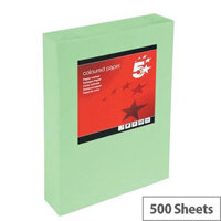 5 Star Office  A4  Coloured Copier Paper Multifunctional Ream-Wrapped 80gsm Bright Green  500 Sheets