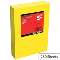 5 Star Office Deep Yellow A4 Paper Coloured Card Multifunctional 160gsm 250 sheets