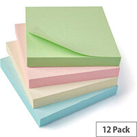 5 Star Eco Repositionable Notes 76x76mm Re-Move  Pastel  Pack 12