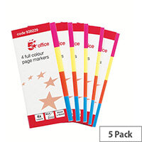 5 Star Office Page Markers Neon Four Colour  Pack 5