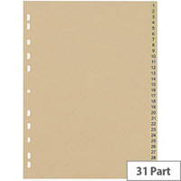5 Star Eco File Divider Numbered Tabs 1-31 Recycled Manilla 11 Holes A4 Buff