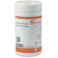 5 Star Facilities Disinfectant Wipes Anti-bacterial PHMB-free BPR Low-residue 13x13cm [Tub 200 Sheets]