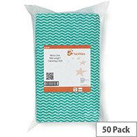 5 Star Facilities Cloths Anti-microbial 40gsm 50x30cm Wavy Line Green [Pack 50]