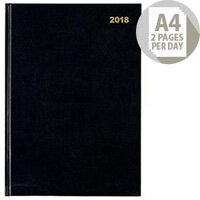 5 Star Office A4 2018 Diary 2 Pages Per Day Black