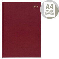 5 Star Office 2018 Diary Week to View A4 Red