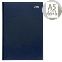 5 Star Office 2018 Diary 2 Days to Page A5 Blue