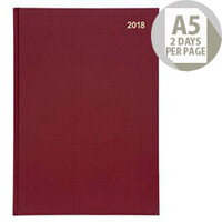 5 Star Office 2018 Diary 2 Days to Page A5 Red