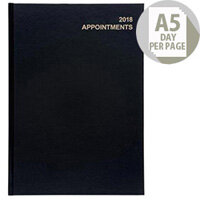 5 Star Office 2018 Appointment Diary Day to Page A5 Black