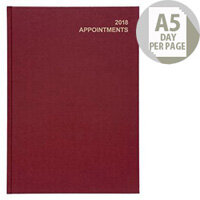 5 Star Office 2018 Appointment Diary Day to Page A5 Red