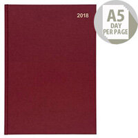 5 Star Office 2018 Diary Day to Page A5 Red