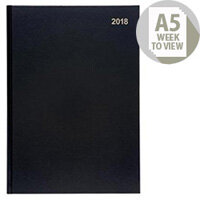 5 Star Office 2018 Diary Week to View A5 Black