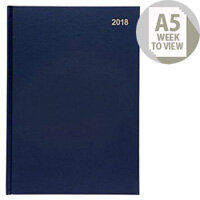 5 Star Office 2018 Diary Week to View A5 Blue