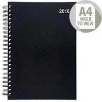 5 Star Office 2018 Wirobound Diary Week to View A4 Black
