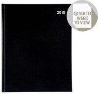 5 Star Office 270x220mm 2018 Diary Quarto Week to View Black