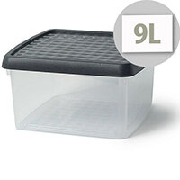 5 Star Elite 9 Litre Storage Clip Box Clear Plastic Stackable with Lid